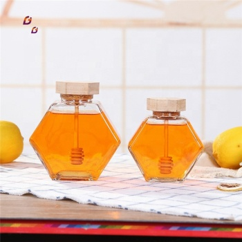 Good quality hexagonal glass honey jar with wooden lid