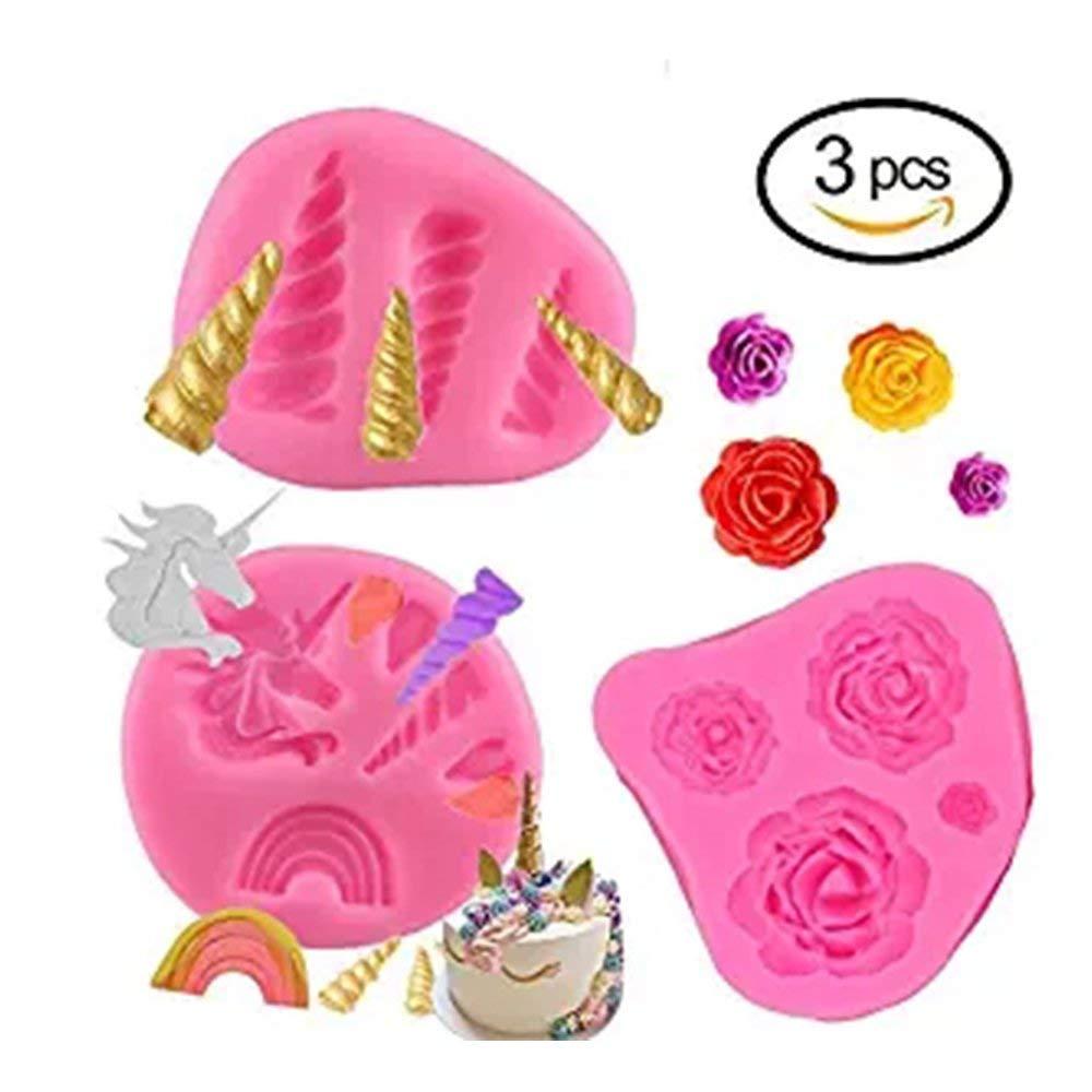 GmakCeder Unicorn Mold, Mini Cake Silicone Unicorn Mold Horn Ears Flower and Rainbow Cupcake Topper Fondant Chocolate Candy Unicorn Cake Mold Set For Baby Birthday Party (3Pcs)