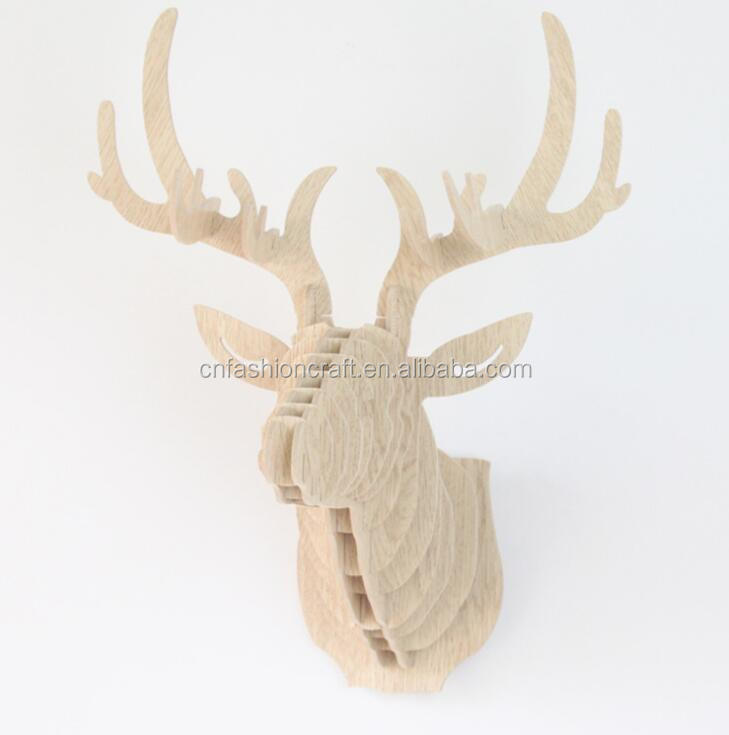 wood deer head eco friendly material gift and <strong>crafts</strong>