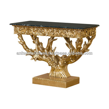 Versailles Heavy Carved Gold Leaf Console Table With Marble Top
