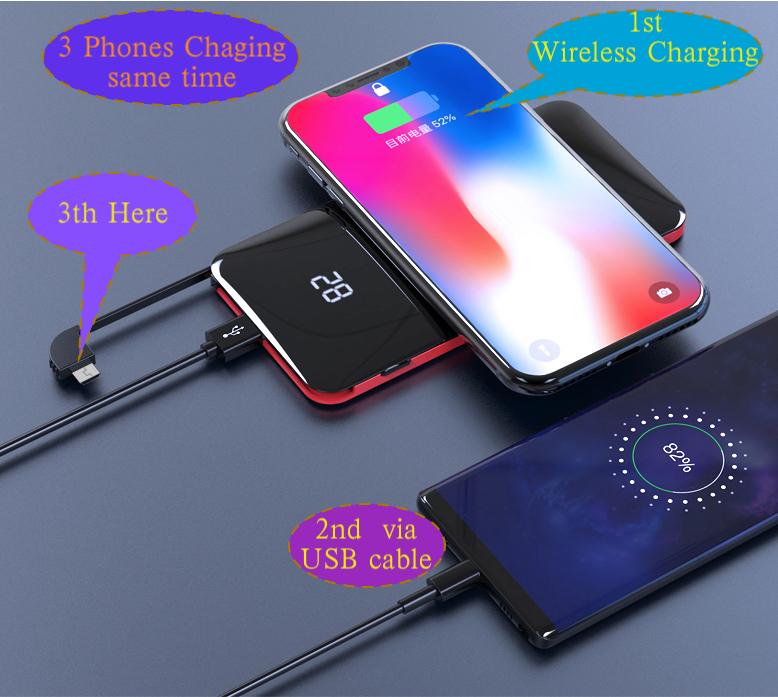 Terbaik Penjual Ponsel Wireless Pengisian Power Bank Portable Power Bank 50000 MAH
