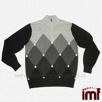 Argyle Intarsia Sweater Knitting Pattern Wool Sweater