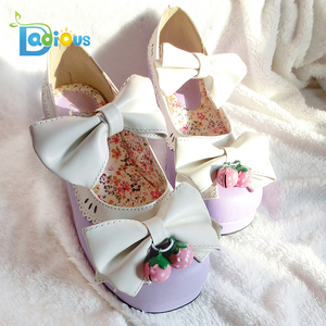 10deeab5d4b 2018 Cute Low Heel Light Purple PU Beads Bows Cute Chunky Lolita Shoes Heels