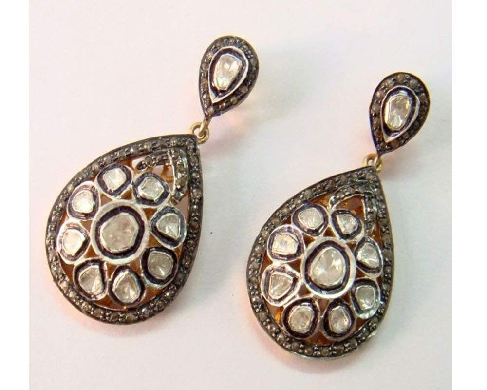 Exclusive Pave Diamond Earrings - 925 Sterling Silver - Victorian Style Diamond Silver Earrings Jewelry
