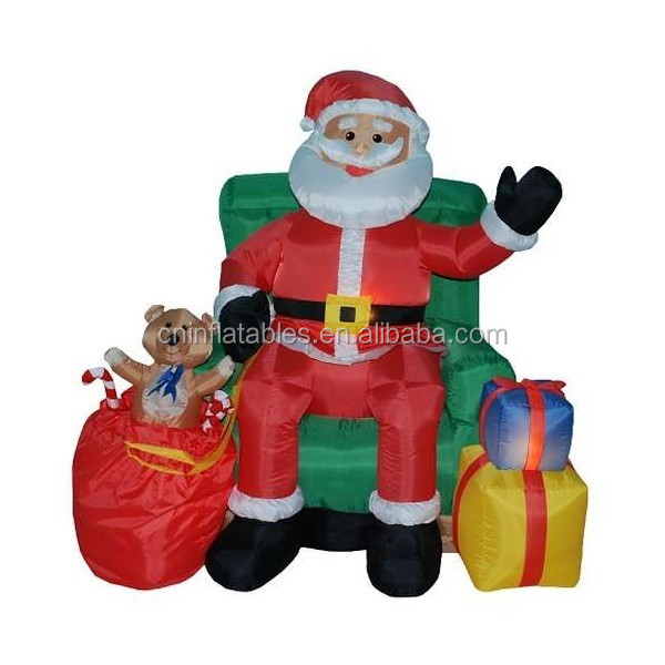 led lighting inflatable/4 Foot Animated Inflatable Santa Claus in Green Chair