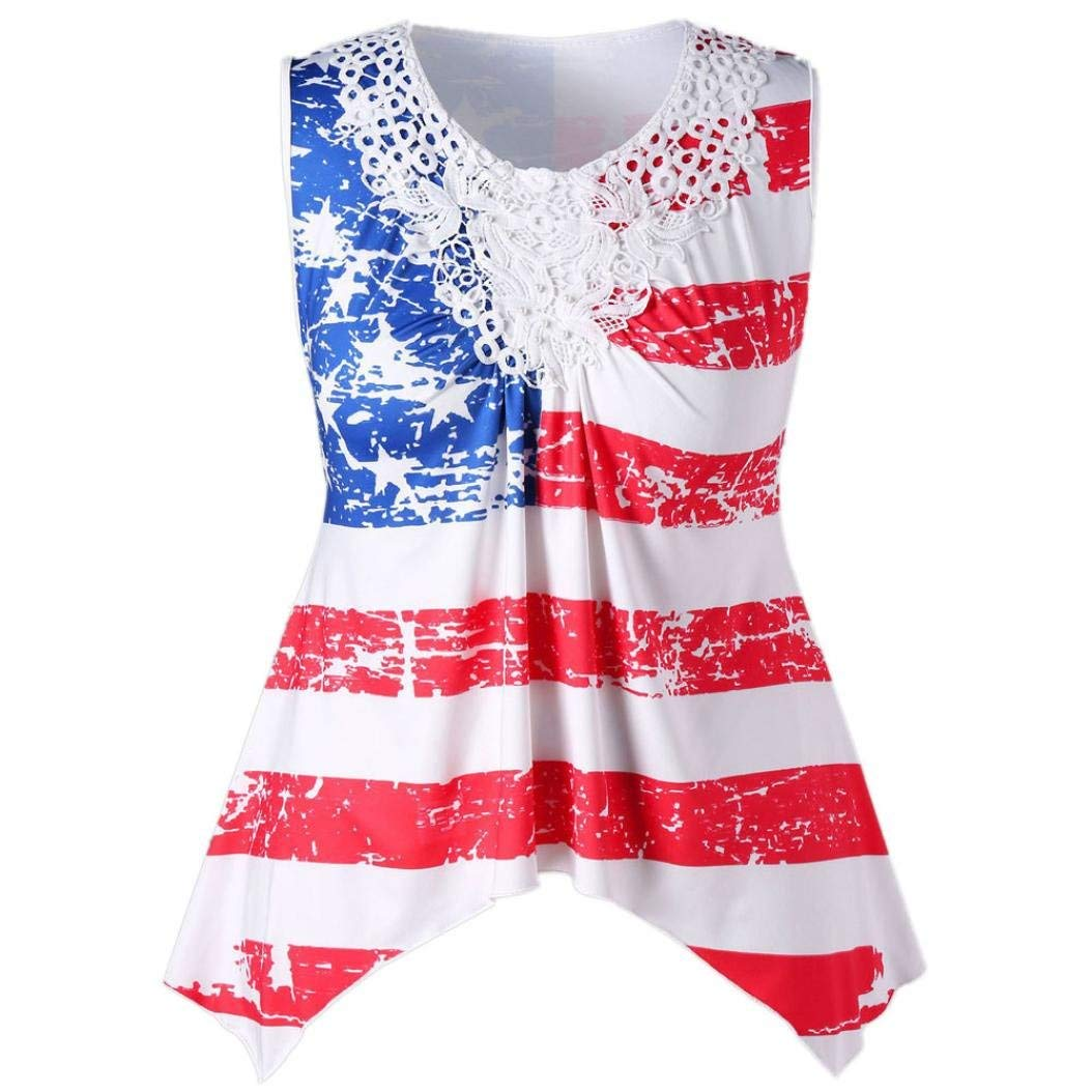 American Flag Tank Top for Women Juniors Lace Pleated Loose Sleeveless Tops Basic T-Shirt Casual Blouse Clearance Sale (XXL, Red)