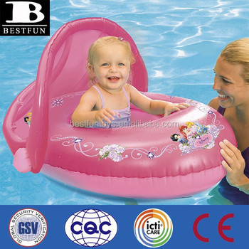 Promotional Custom Made Inflatable Princess Sun Canopy Baby Pool Float Swimming Boat Seat