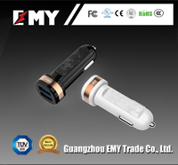 Guangzhou waterproof usb car charger with 2a cable for smart mobile phone