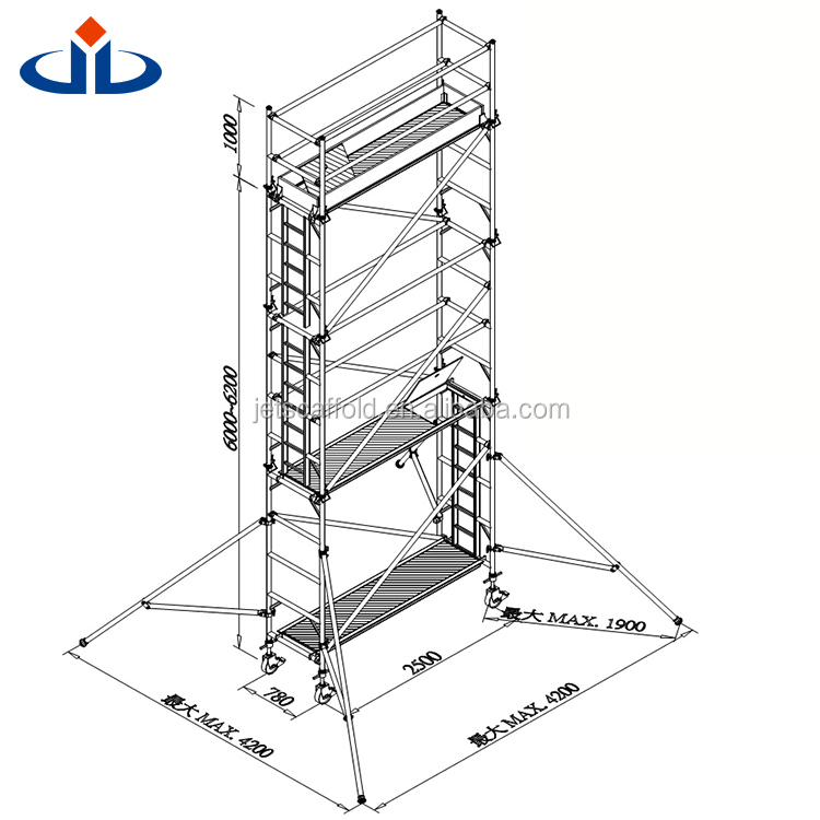 World Manufacture 0.78 x 2.5 x 6m Aluminium Layher Scaffolding Mobile Tower Best Price Scaffolding System Mobile Tower
