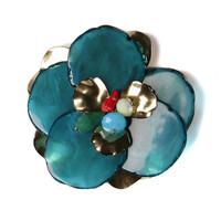 Badu Handmade Blue Resin Flower Brooch For Garments