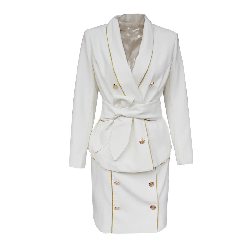 7695a4c0a59e lady double breasted collar v neck white satin belted stylish women casual  robe formal blazer dress