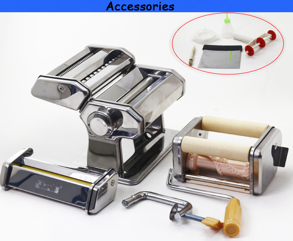 Pasta machine Set (4 in 1)By Cucina Pro -Includes Spaghetti, Fettucini, Angel Hair, Ravioli, Lasagnette Attachments