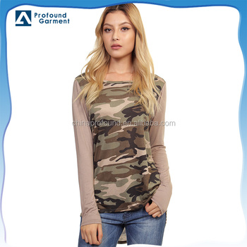 Raglan Military Camouflage T Shirt for women