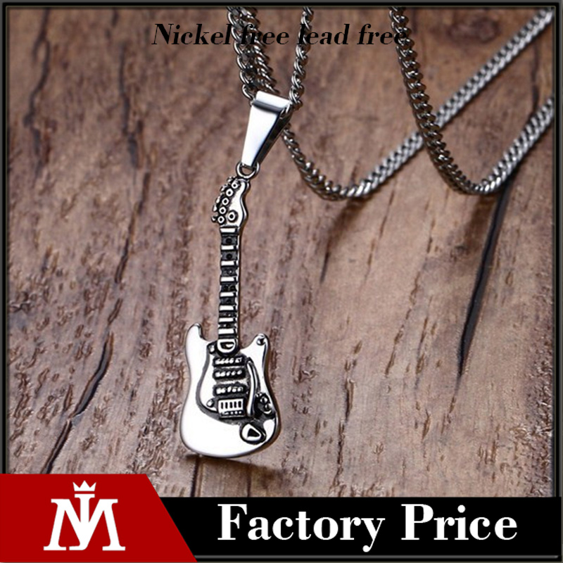 Fashion Guitar Pick Holder Pendant Necklace 316L Stainless Steel Men Women Music Jewelry