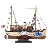 American Mediterranean Style Metal Sailing Ship Model Antique Vintage Boat Nautical Home Decoration Crafts