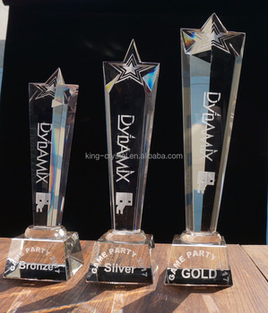 The upscale pentagram crystal medal and crystal trophy manufacturer can customize the logo
