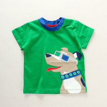 fashion popular children casual green t-shirts with print cartoon pattern