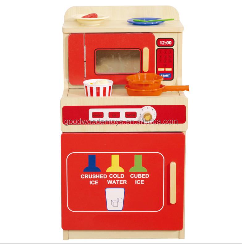2017 Modern Orange Mini Stove Wooden Kids Kitchen Toy ,Pretend Play  Children DIY Wooden Kitchen