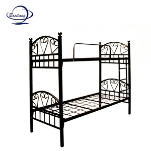 Best selling wrought iron steel bunk bed / fashion design flat iron double iron bed