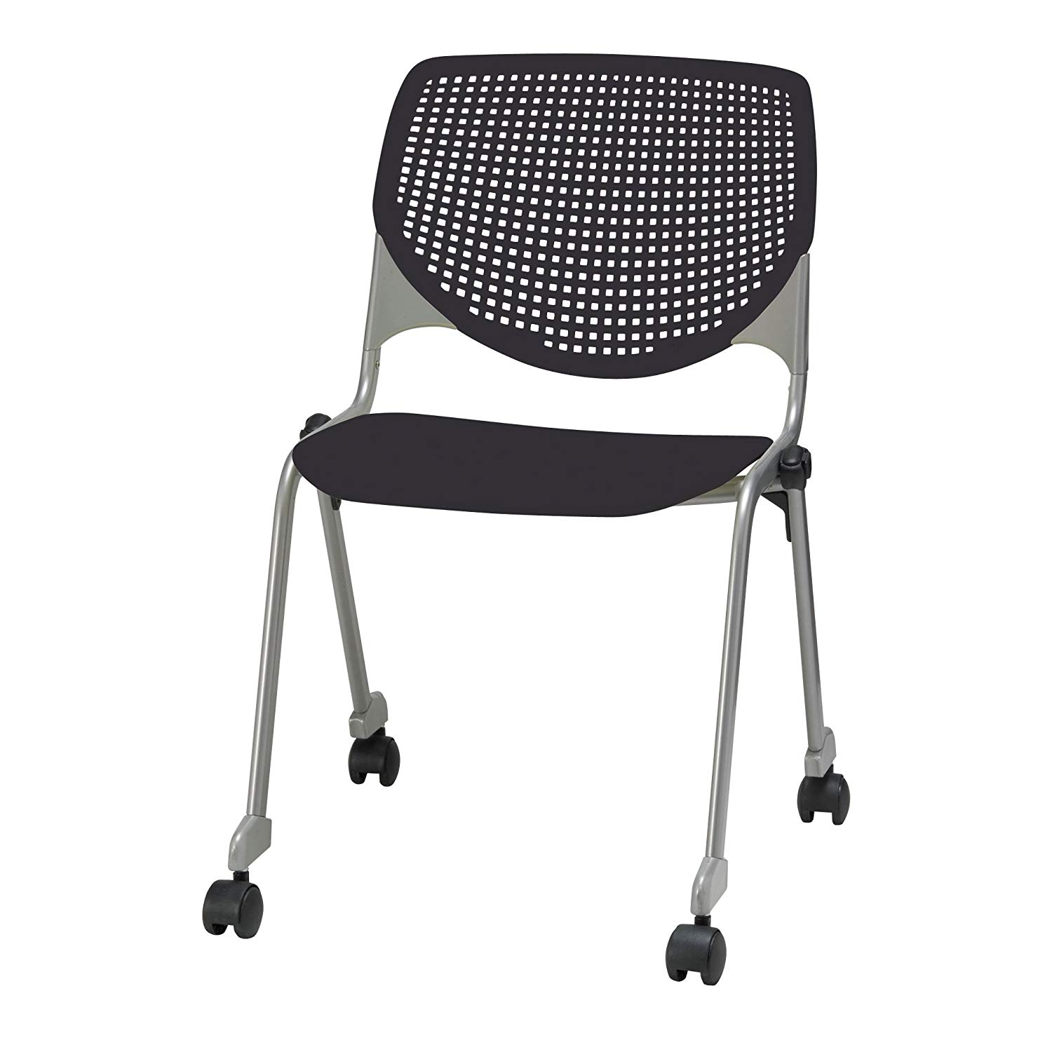 KFI Seating Kool Series Polypropylene Stack Chair with Perforated Back and Casters, Black Finish