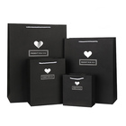Weddings Gift Favor Black Shopping Paper Kraft Bags with Handle