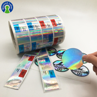 Custom Reflection Rainbow Holographic Stickers Label, Adhesive Laser Prismatic Hologram Sticker