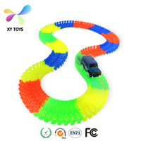 XY-7072 Glow in the Dark kids toys Magical Race track +1pc car random color track slot toy Car for Child Gift