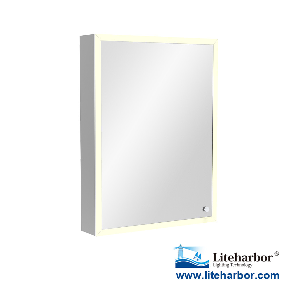IP44 Framed LED Illuminated Single Door Bathroom Cabinet LED Light Mirror Touch Sensor Switch
