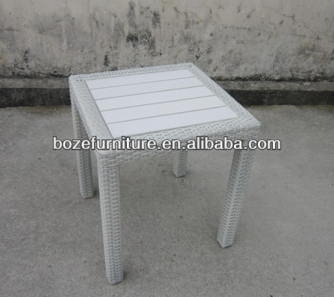 white rattan outdoor furniture/ wicker wood side table