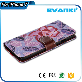 Wholesale promational flower design leather full cover mobile phone case for iphone 7 / 7 plus