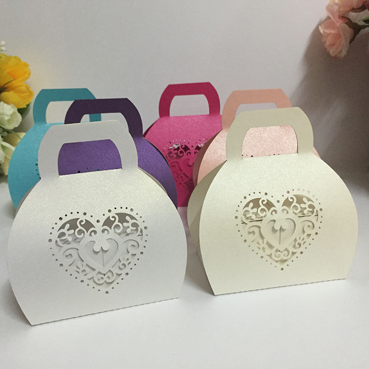 Handheld Laser cut Paper Candy Box Wedding Gifts
