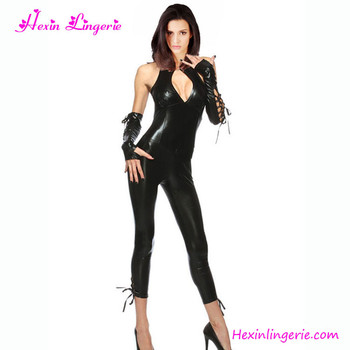 Fast Shipping Women Sexy Black Leather Catsuit