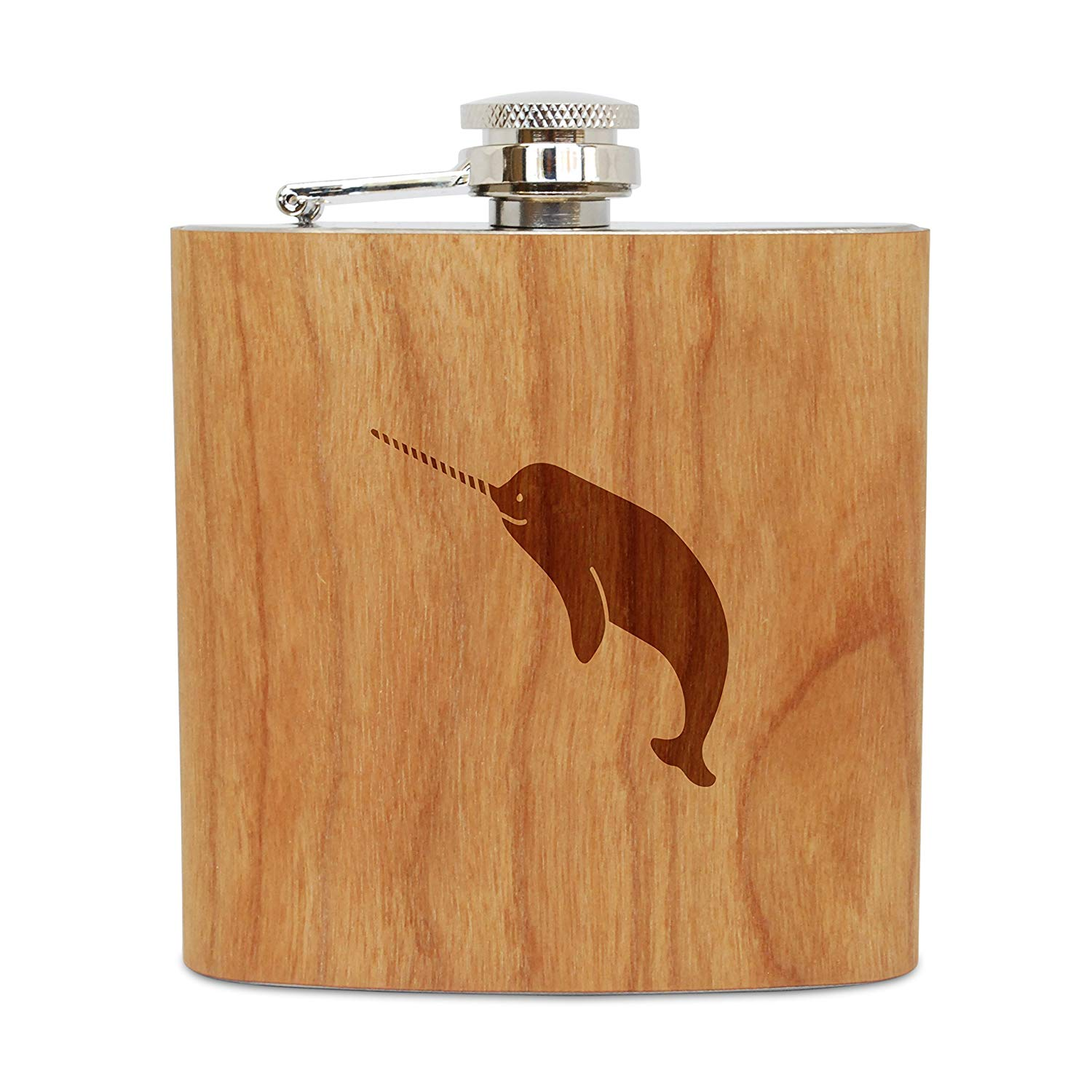 WOODEN ACCESSORIES COMPANY Cherry Wood Flask With Stainless Steel Body - Laser Engraved Flask With Narwhal Design - 6 Oz Wood Hip Flask Handmade In USA