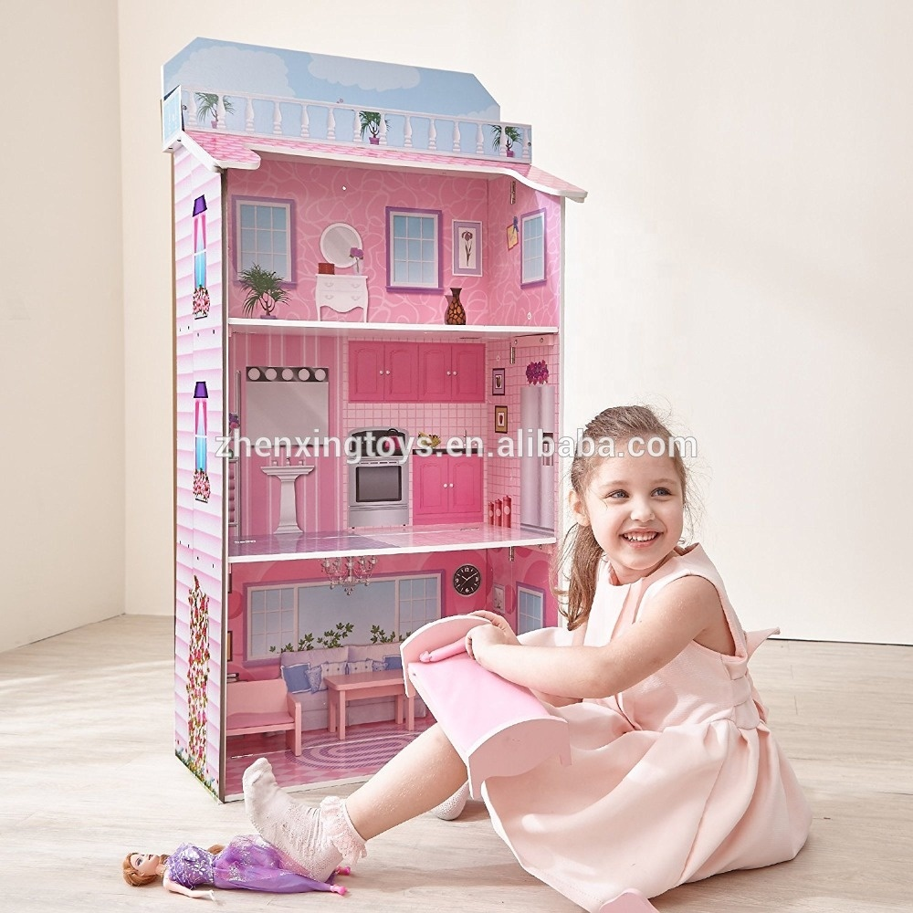 Foldable wooden kit doll house toy