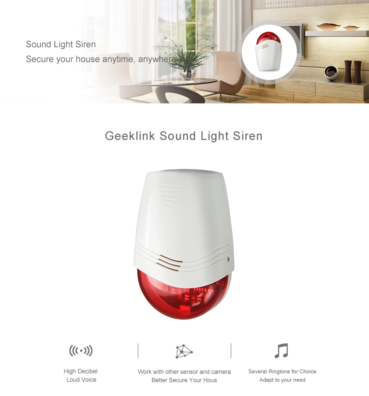 Geeklink Hot-sell home  security systems emergency bell loudest burglar wireless home  siren 85db strobe wifi alarm siren