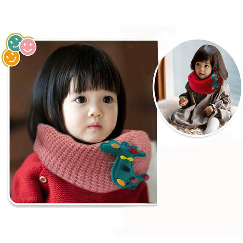Newest Kids Fashion Cartoon Winter Warm Cute Deer collar  Scarves Boys and Girls Kids Neck O Ring Scarves for Kids