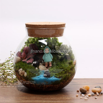 Flower Vase Transparent With Cover Glass Terrarium Landscape Bottle