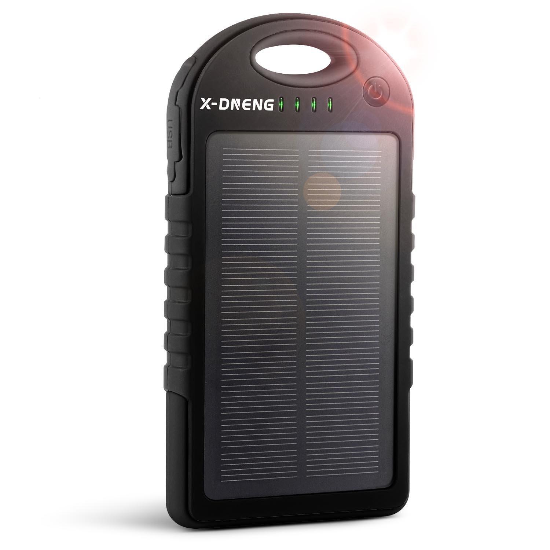 Solar Charger, X-DNENG 12000mAh Solar Power Bank, External Battery Backup Power, Dual USB Port Solar Battery Charger, Portable Battery Charger with Solar Panel - Black