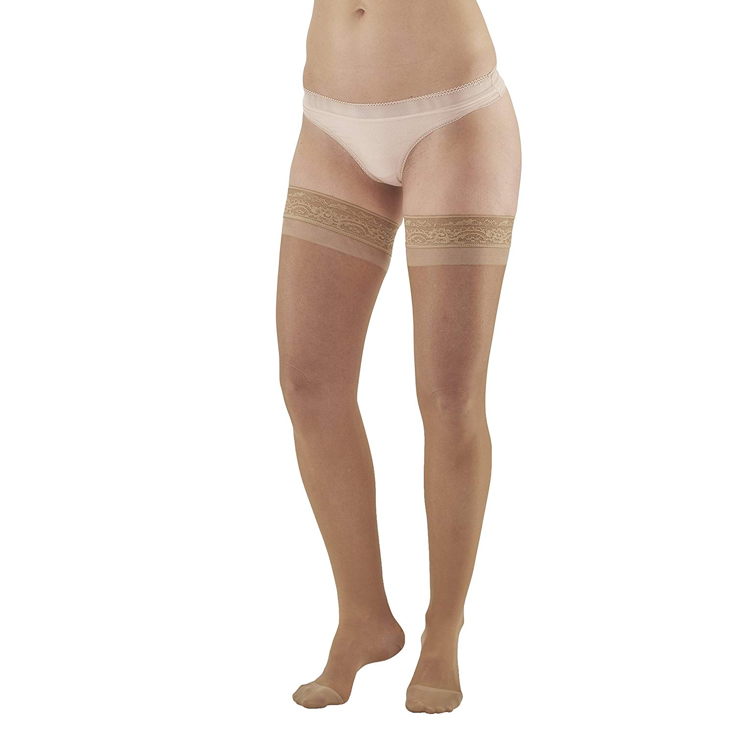 58a7e1f2fe5 Get Quotations · Ames Walker AW Style 4 Sheer Support 15-20mmHg Moderate  Compression Closed Toe Thigh High