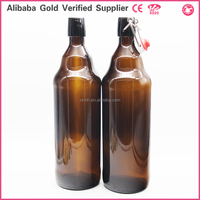 1L AMBER Glass Beer Bottle with Swing Top/Clamp lid