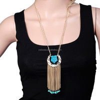 Gold Plated C Shape Long Chain Turquoise Tassel Alloy Pendant Charm Link Chain Necklace Boho Trendy Jewelry