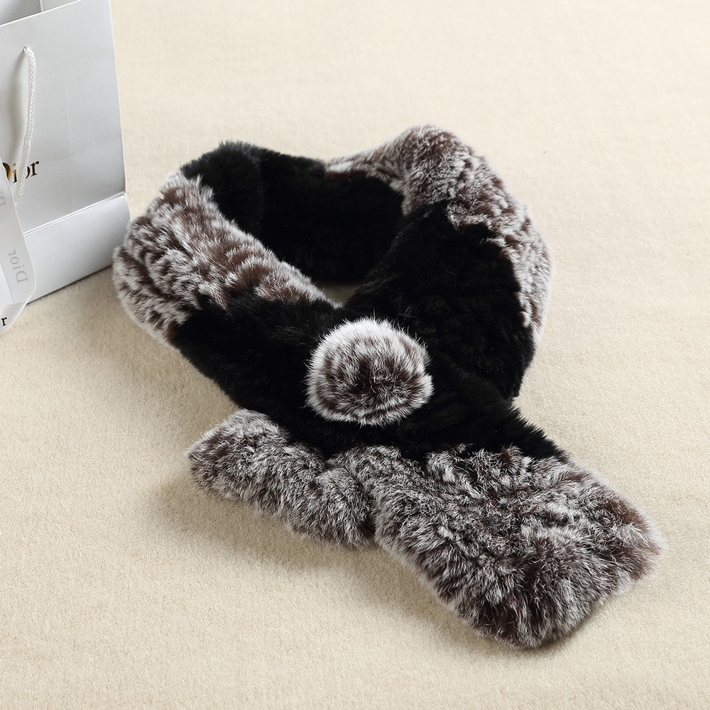 Best-selling scarf shawl 2017 winter genuine knitted rabbit fur scarf fashion scarve
