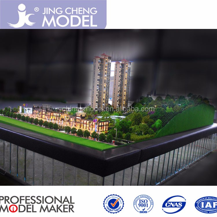 1:150 scale marketing model for residential tower building, 3d cad model