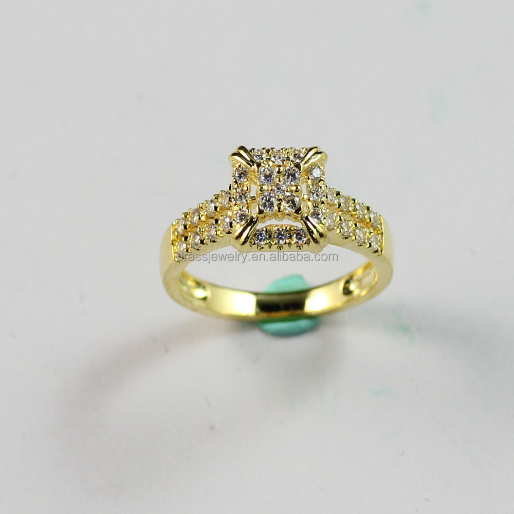 Hot Selling Professional Micro Zircon Pave Setting Imitation 24 Carat Gold Wedding Rings