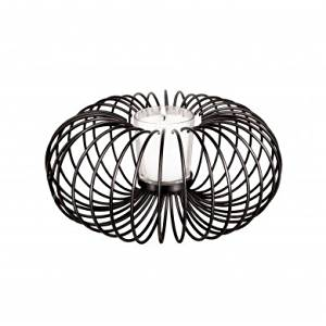 "Decorative Wire Candle Holder Set - Bring Tranquility to Your Space with This Decorative Wire Candle Holder Set with a Beautiful, Modern Motif. Set Includes a Round, Black Metal Wire Sculpture with a Pedestal and a Clear Glass Candle Holder. Measures Approximately 8.5"" in Diameter and 4.5"" Tall."