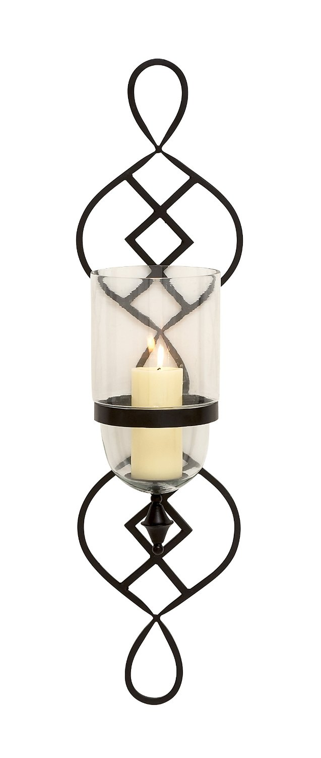 Benzara Simply Stunning Metal Glass Candle Sconce