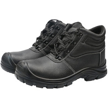 Black leather steel toe cap safety shoes