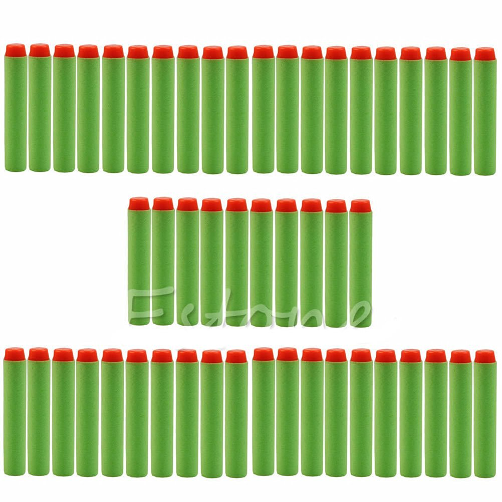 Yosoo 100pcs 7.2cm Toy Gun Bullet Foam Darts Refill Sponge EVA Round Head Soft Bullet Darts for Nerf N-strike Elite Series Blasters Kid Toy Gun (Green)