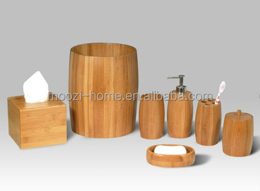 Wood And Bamboo Bathroom Accessories Set Bamboo Tissue Box Wood