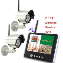 9 pollice TFT Digitale 2.4G Wireless Telecamere Audio <span class=keywords><strong>Video</strong></span> Baby monitor 4CH Quad DVR Sistema di Sicurezza Con IR luce di notte telecamere